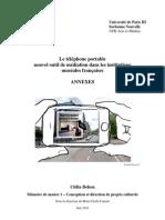 """ANNEXES """"Le téléphone portable, nouvel outil de médiation culturelle dans les institutions muséales françaises"""""""