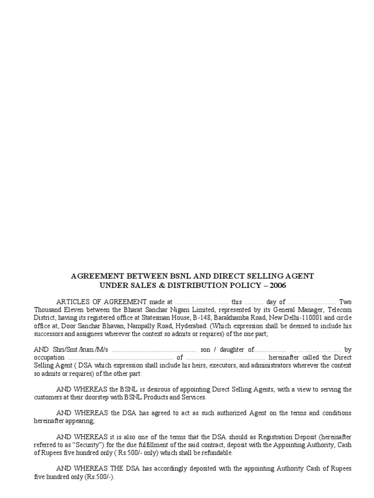 Agreement Between Bsnl And Direct Selling Agent