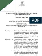 Permenpan No 20 Tahun 2010 Ttg Road Map Reformasi Birokrasi 2010-2014