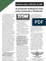Comunicado do Sindicato sobre o PPR 2011 da TAM