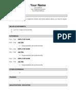 Sample Resume Template(Cv)