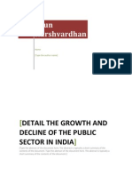Detail the Growth and Decline of the Public Sector in India