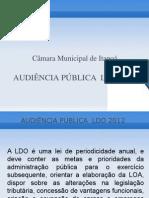 AUDIÊNCIA PÚBLICA  LDO 2012