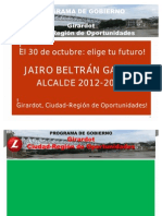 Plan de Gobierno Jairo Beltran Galvis - 2012 - 2015