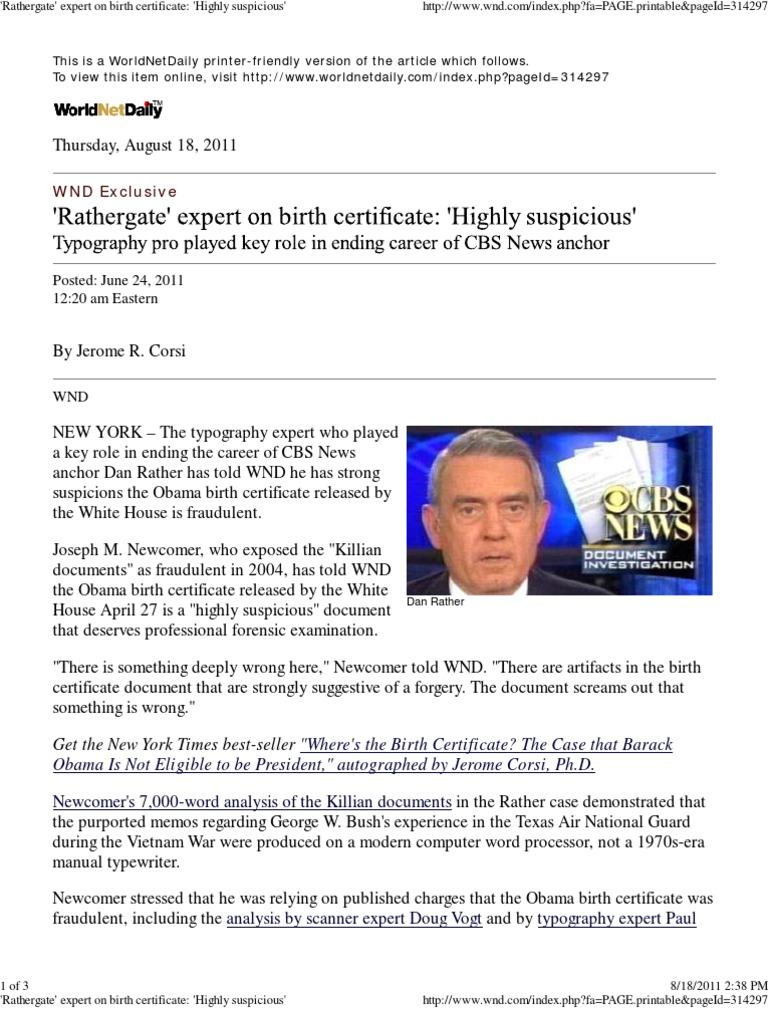 Obama Birth Cert Doc Highly Suspicious Per Joseph Newcomer