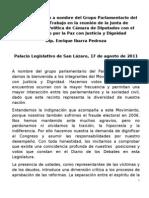 Posicionamiento ante el Movimiento por la Paz con Justicia y Dignidad por parte Grupo Parlamentario del Partido del Trabajo en la Cámara de Diputados, 17 Agosto 2011