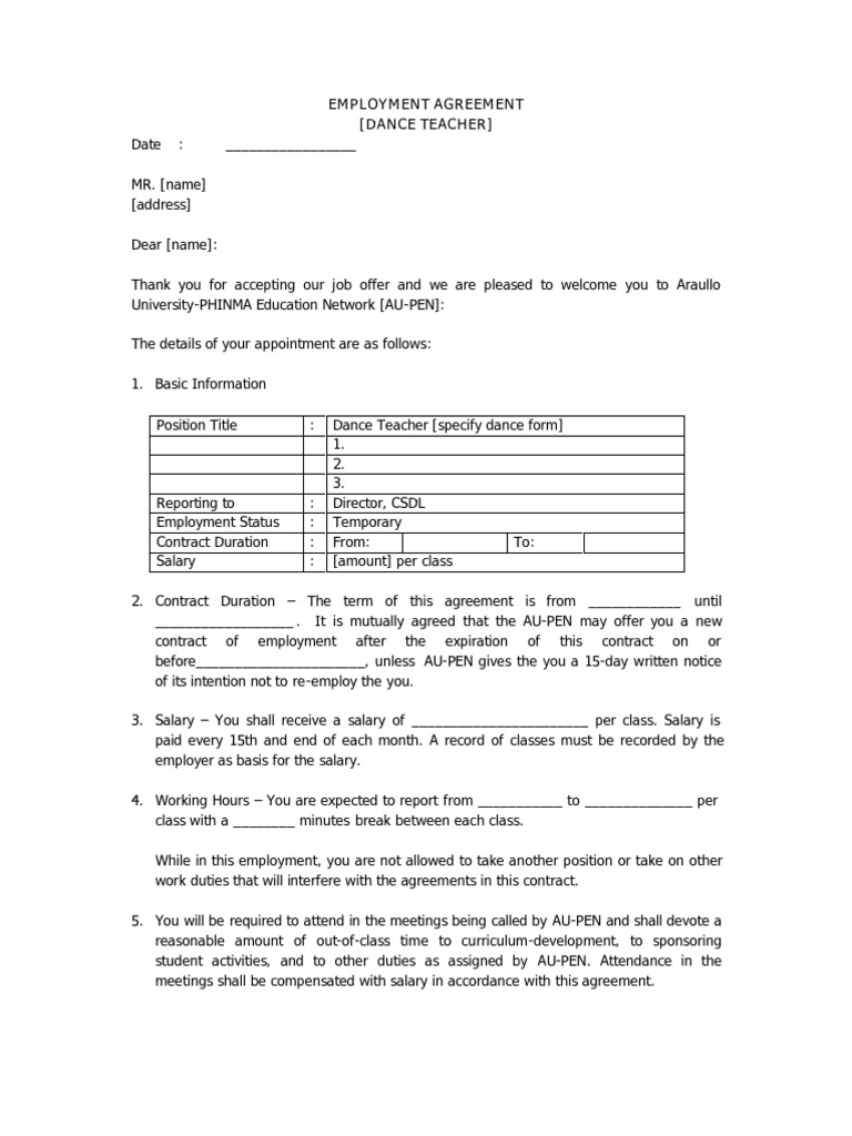 dance teachers contract