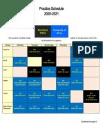 2020-2021 Practice Schedule