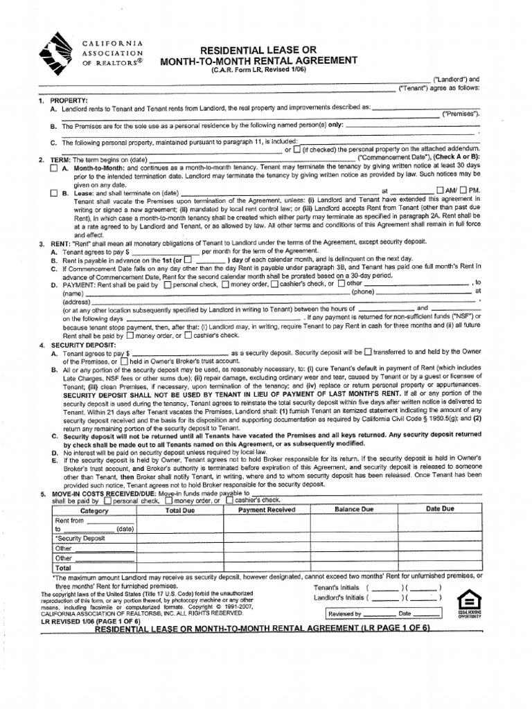 CaRFormLrResidentialLeaseorMonthtoMonthRentalAgreement0 – Car Lease Form