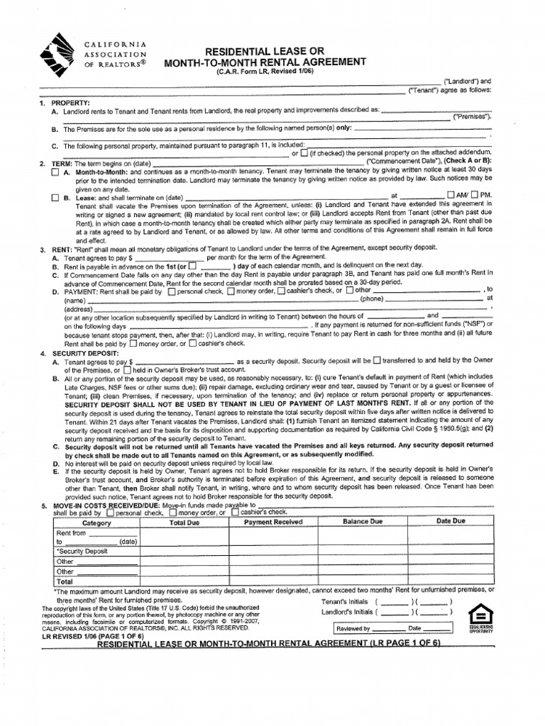 california association of realtors application to rent California association of realtors standard form application to rent
