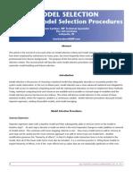 Model Selection Part II Model Selection Procedures