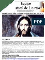 Equipo Pastoral de Liturgia. Parroquia San Vicente de Paúl. Subsidio. TO. Ciclo A. Domingo XXI. Y ustedes… quién dicen que soy (Mt. 16, 15)