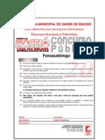 Prova p fonoaudiologo Prefeitura de Maceio-AL - Fonoaudiologo