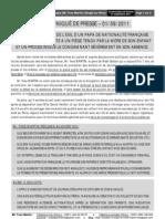 Communiqué de presse pour la France du 01-09-2011 [3 pages]