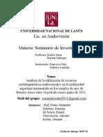 TP DE SEMINARIO DE INVESTIGACIÓN - Análisis de la utilización de recursos metalingüísticos audiovisuales en la publicidad argentina transmitida en los canales de aire de Buenos Aires entre el período enero-junio de 2011