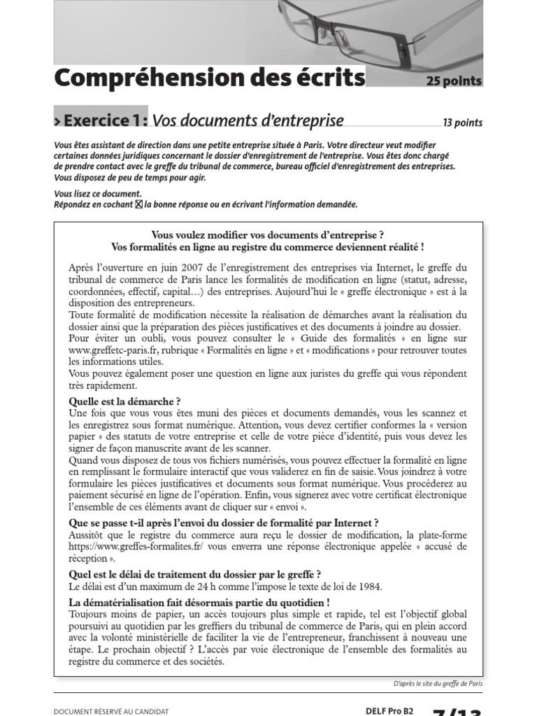 Delf Pro b2 Comprehension Des Ecrits Exercice 1 ...