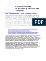 A Study of the Degree of Branding Standard is at Ion Practised by Irish Food and Drink Export Companies