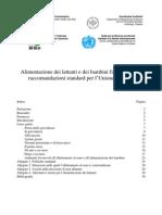 Raccomandazioni Europee 2006 Alimentazione Bambini