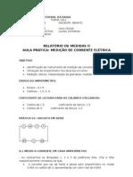 RELATÓRIO DE MEDIDAS - CORRENTE