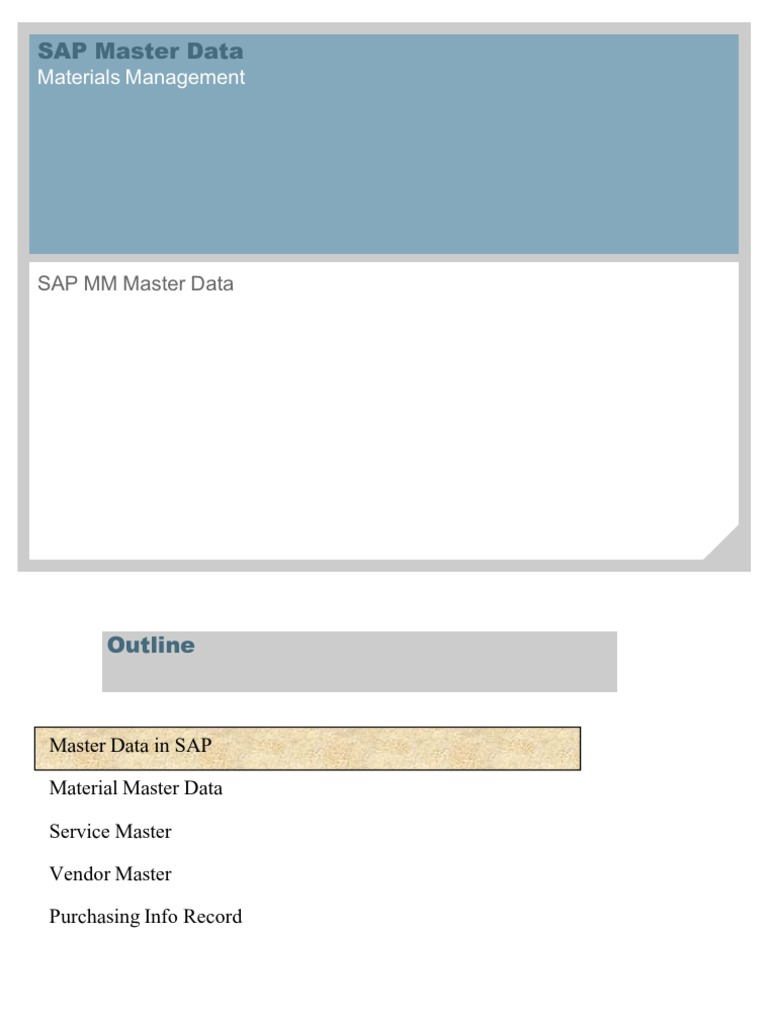 Sap Mm Master Data Warehouse Specification Technical Standard Software Material Management