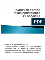 EL PENSAMIENTO CRÍTICO Y SUS DIMENSIONES FILOSÓFICAS