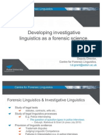 Developing Investigative Linguistics as a Forensic Science