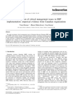 An Investigation of Critical Management Issues in ERP