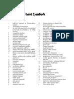 List of Important Symbols