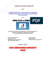 "JINDAL STEEL & Market Research and Market Awareness Program On Rails, Parallel Flange Beams and Columns"" OF JINDAL STEEL & POWER LTD 79p"