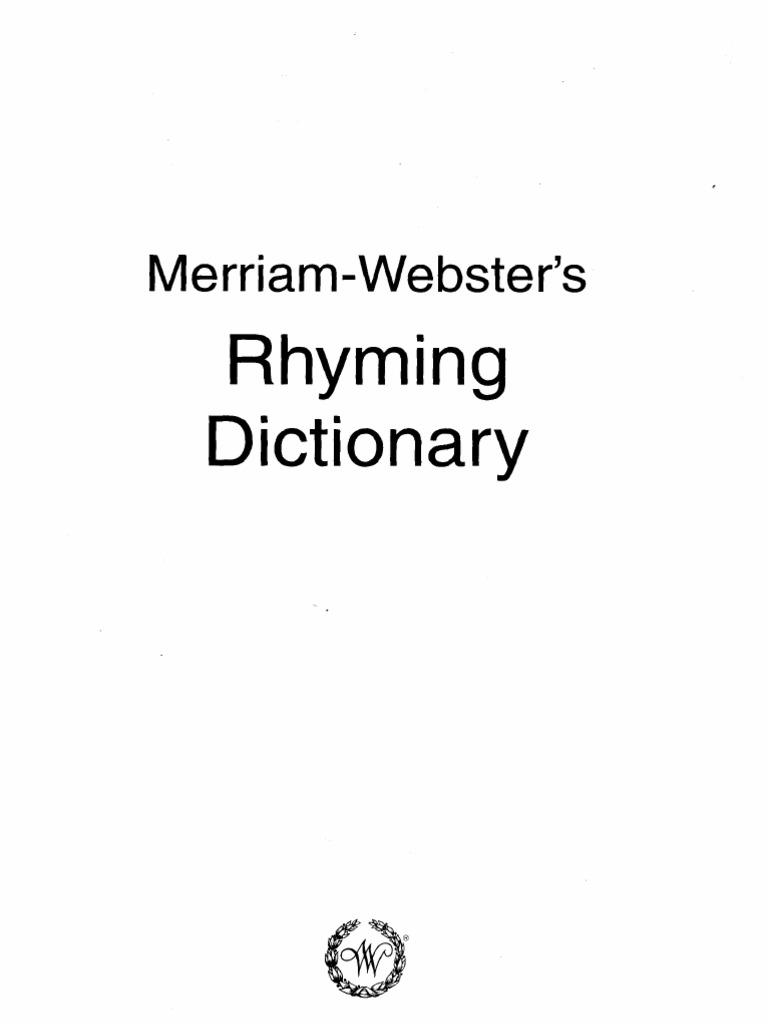韦伯斯特押韵词典Merriam Webster_s Rhyming Dictionary