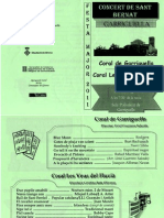 Programa de mà. Concert coral de Garriguella 2011