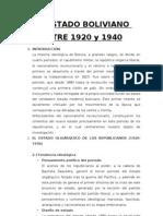 El Estado Boliviano Entre 1920 y 1940