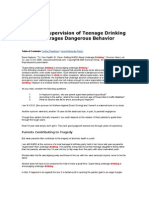 Parental Supervision of Teenage Drinking Encourages Dangerous Behavior