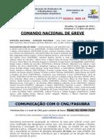Informe de 19 de agosto de 2011 do Comando Nacional de Greve