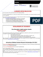 Scholarships Update August 2011