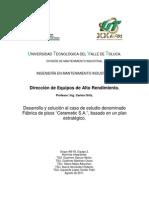 """Desarrollo y solución al caso de estudio denominado Fábrica de pisos """"Ceramatic S.A."""", basado en un plan estratégico."""
