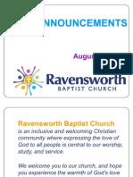 Ravensworth Baptist Church Announcements, August 21, 2011