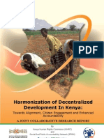 Harmonization of Decentralized Development in Kenya- Towards Alignment, Citizen net and Accountability