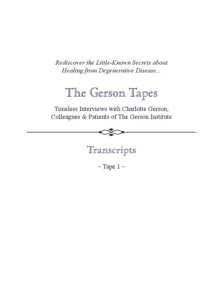 TheGersonTapes Transcripts All   Insulin   Diabetes Mellitus