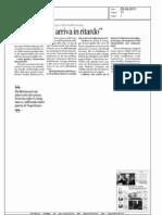 """Rocco Buttiglione :"""" Bene Silvio, ma arriva in ritardo"""" - La Repubblica del 23.08.11"""