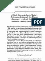 Bugenhagen's Report of Luther's Reformation Breakthrough (Martin Lohrmann)