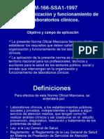 NOM-166-SSA1-1997 Funcionamiento y organización de los laboratorios clínicos
