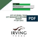 2012 Irving Budget