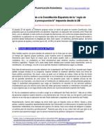 """DRY - Sobre el traslado a la Constitución Española de la """"regla de estabilidad presupuestaria"""" impuesta desde la UE"""