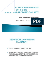Irving ISD 2011-12 Budget Proposal