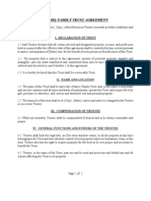 Sample Family Trust Agreement Trust Law Trustee