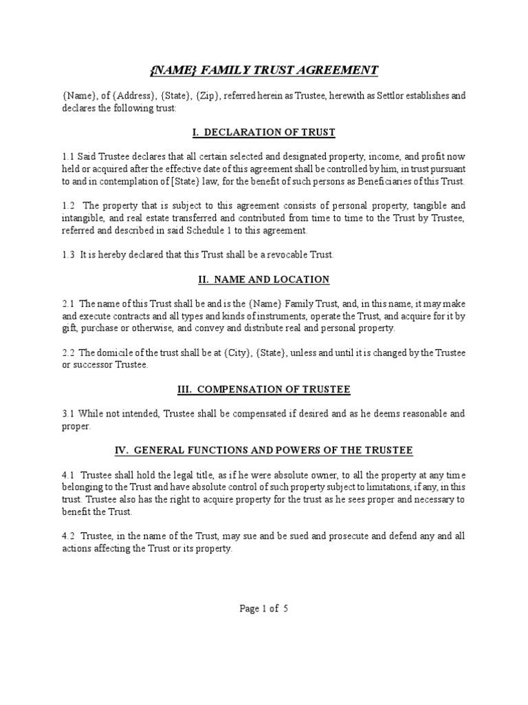 Trust Agreement Template   Sample Family Trust Agreement Trust Law Trustee