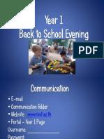 Year 1 Back to School Presentation