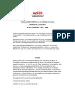 TRABALHO DE CONSTRUÇÂO DA CRITICA CULTURAL