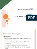 HCI-5 Evaluation Techniques